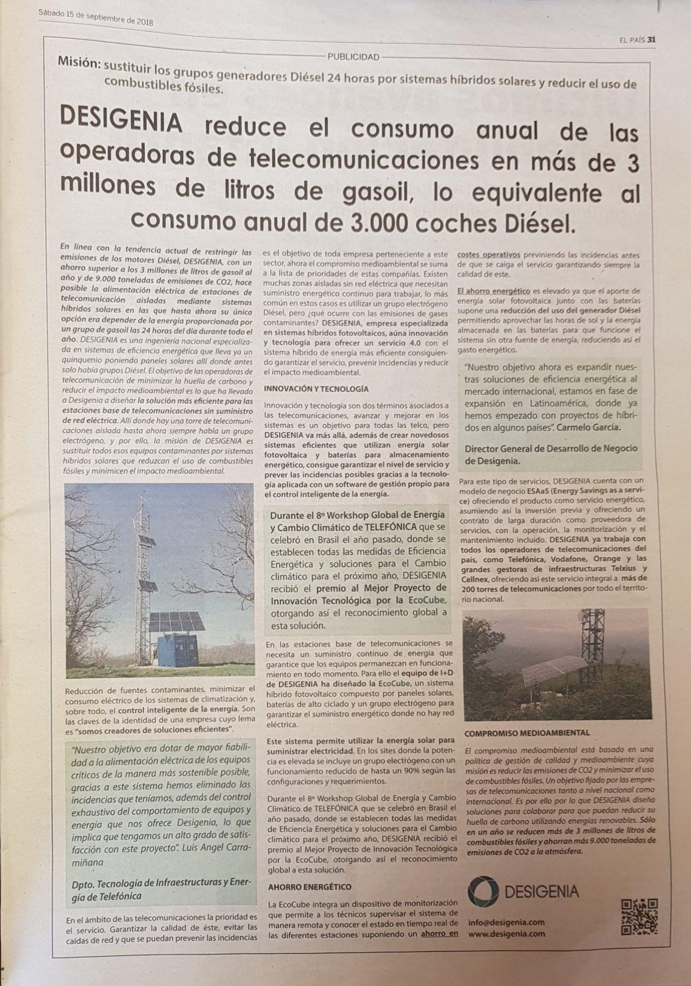 Desigenia en El País septiembre